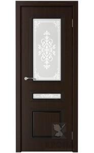 Дверь Крона Стиль Темный шоколад стекло матовое с рисунком