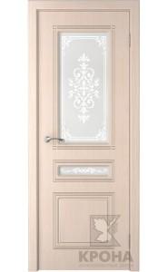 Дверь Крона Стиль Беленый дуб стекло матовое с рисунком
