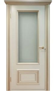Дверь Поло Молочный с золотом Остекленные