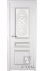 Дверь Крона Стиль Белая эмаль стекло матовое с рисунком