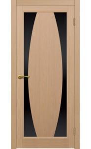 Дверь Матадор Атик 3 Беленый дуб Стекло черное