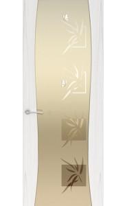Дверь Океан Буревестник-2 Бабочки Ясень белый жемчуг Стекло белое