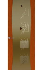Дверь Океан Буревестник-2 Бабочки Красное дерево Стекло тонированное
