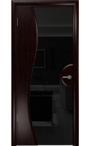 Дверь Арт Деко Ветра 1 Венге Стекло черное