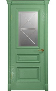 Дверь Арт Деко Аттика 2-1 Фисташка Стекло Гравировка