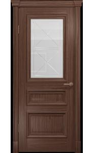 Дверь Арт Деко Аттика 2-1 Американский орех Стекло Гравировка