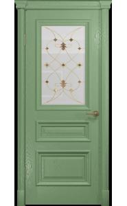 Дверь Арт Деко Аттика 2-1 Фисташка Витраж Калипсо