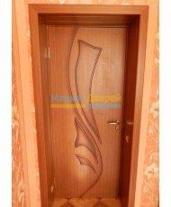 Фото установленной Дверь ВФД Лайн 8 Л8ПО1 Капучино Стекло зебра