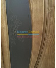 Фото установленной Дверь Океан Буревестник 1 Беленый дуб Стекло черное