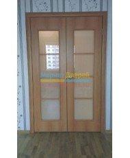 Фото установленной Дверь Верда Венеция 04 Беленый дуб мелинга Стекло Сатинато Люкс