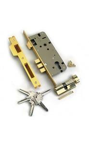 Замок врезной с защелкой, перфорированный ключ L01-45-70S TR B  ключ-вертушка Латунь