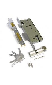 Замок врезной с защелкой, перфорированный ключ L01-45-70S TR N  ключ-вертушка Хром