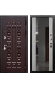 Дверь мет. SD Prof-5 Сенатор зеркало Беленый дуб, со стеклом