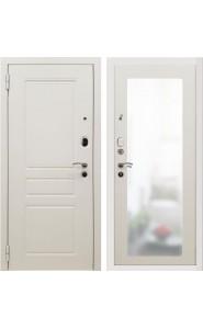 Дверь мет. SD Prof-10 Троя белая большое зеркало Белый, со стеклом