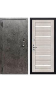 Дверь мет. SD Prof-10 Вектор Бетон темный/Листв. белая, со стеклом